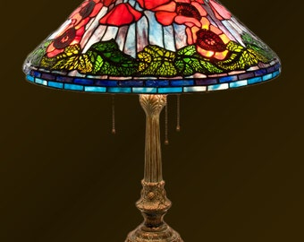 Stained Glass Poppy, Table Lamp, Bedside Lamp, Desk Lamp, Lamp Stand, Stained Glass, Tiffany Lamp, Glass Lighting, Lamp Set, Lamp Shade