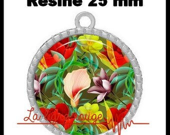 Round Cabochon pendant 25 mm epoxy - flowers and summer scent (2199) - floral, bouquet, Garden
