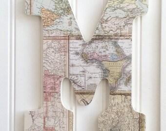 "9"" World Map Letter, Map Decor, Wall Art, Letter Art, Gallery Wall, Wall Letter, Hanging Letter, Decorated Letter, Wood Letter,  Wall Letter"