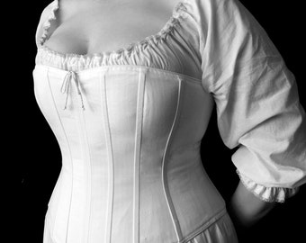 Plus Size Victorian Corset Overbust c.1860 in cotton coutil, hourglass historical costume undergarment, custom sized made to measure