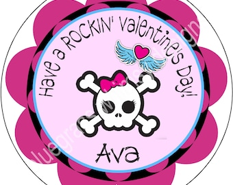 """2.5"""" Valentine Stickers for Treat Bags- Punk Rock Girl"""