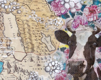 Zug Map Mixed Media - Cow pink
