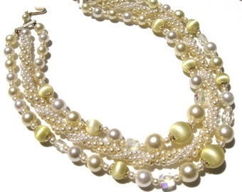Vintage 1950 signed Japan pearl yellow aurora borealis necklace