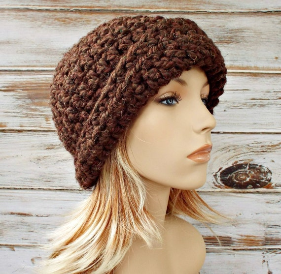 Crochet Hat Brown Womens Hat 1920s Flapper Hat - Garbo Cloche Hat Wood Brown Cloche - Brown Hat Brown Beanie Womens Accessories Winter Hat