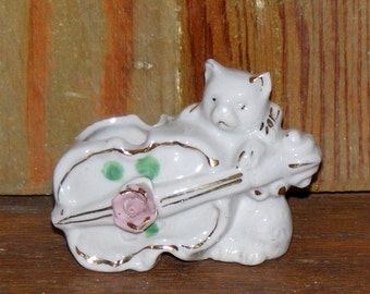 Vintage Bisque Cat with Violin with rose accent Figurine marked Japan