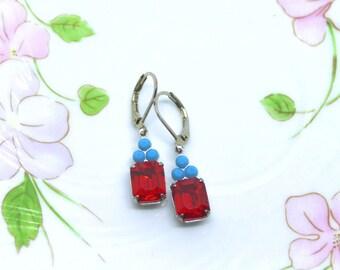 Vintage Turquoise Blue & Hyacinth  Octagon  Swarovski  Earrings