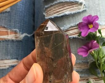 Rutilated smoky quartz tower, rutile, rutile quartz
