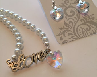 White pearl tone LOVE Dangle Heart  Necklace and earring set