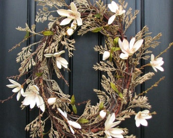 XL Year Round Wreaths, Champagne Casa Wreath, Magnolia Wreath, Branches, Handmade Wreaths, Etsy Wreaths, Twoinspireyou, Summer Wreaths