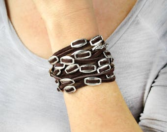 Leather Jewelry-Leather Wrap Bracelets For Women-Leather and Silver Bracelet-Leather and Silver Wrap Bracelet-Unique Boho Wrap Bracelet