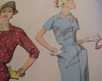 SALE Vintage 1950's Advance 8348 Dress Sewing Pattern, Size 12, Bust 32