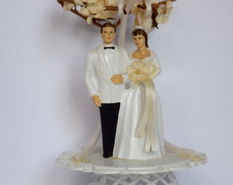 Vintage Bride Groom Cake Topper Plastic 1950s #11