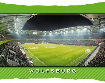 Wolfsburg Stadium postcard cushion (50 cm x 30 cm)