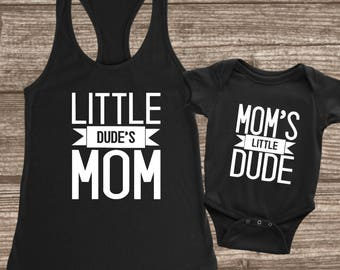 Mother & Son Matching Shirts - Mom and Son Shirts - Mommy and Me Set - Mom's Little Dude - Little Dude's Mom