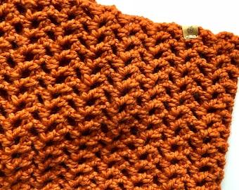 wide crochet infinity scarf, pumpkin, ready to ship