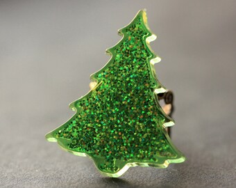 Christmas Tree Ring. Glitter Ring. Christmas Ring. Holiday Jewelry. Green Tree Ring. Bronze Ring. Adjustable Ring. Christmas Jewelry.