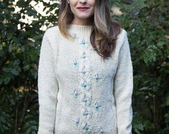 VINTAGE 1980s Cream Floral Knit Sweater
