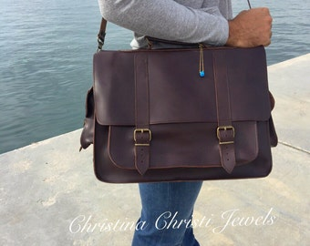 Laptop Bag, Dark Brown Leather Briefcase, Men's Leather Briefcase, 17 inch Laptop Bag, Leather Messenger Bag, Made in Greece.