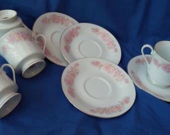 4 Oriental Bone China Chinese Cups and Saucers Pink Flowers