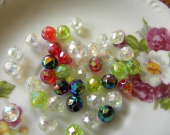 Vintage Plastic Faceted Beads