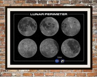 Print Art of the Moon, 360 Degrees of the Moon.  Nasa Luna Space Technical Drawings Engineering Drawings Patent Blue Print Art Item 0084