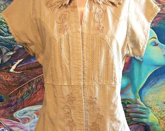 Cotton Blouse, Tan, short sleeve, Peru, Button down, Natural fiber, Blouse, size L