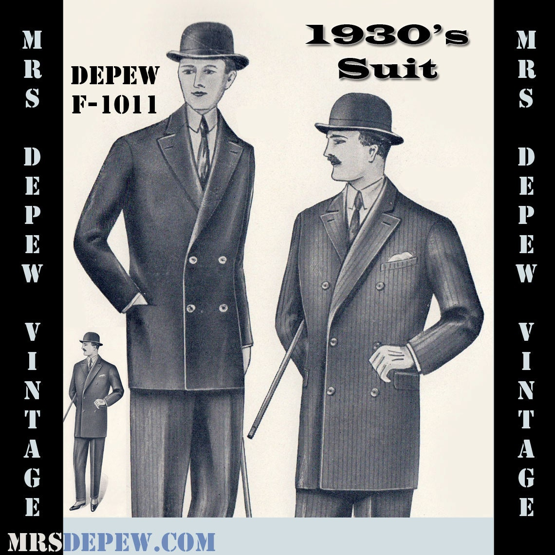 Menswear Vintage Sewing Pattern 1930s Mens Double