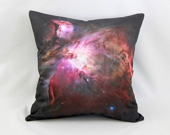 CLEARANCE: Orion Nebula Galaxy Pillow - NASA Hubble Space Telescope Image on Cotton Space Photo Fabric