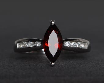 natural red garnet ring garnet engagement ring January birthstone marquise cut red gemstone sterling silver ring gifts