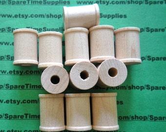 """Wood Spools  - 1"""" tall x 3/4"""" wide w/ 1/4"""" hole - 12 pcs - #SP7000WW12"""