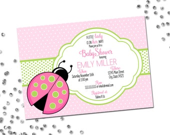 Ladybug Baby Shower Invitation - Little Lady is On Her Way - Lady Bug - Polka Dots - Pink and Green - Printable