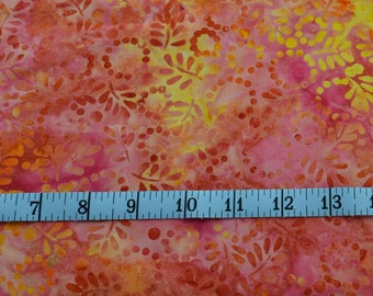 Batik Fabric, Orange Fabric, Yellow Fabric, Cotton Fabric By The Yard, Cotton Quilting Fabric, Sewing Project, Fat Quarter, Quilting Supply