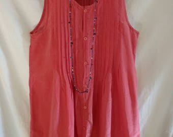 CP Shades Tunic Dress Pink Coral Fuchsia Sleeveless Shirt Dress Silk EUC