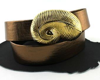 """Vintage Adjustable Copper / Bronze Vinyl Belt Gold Seashell Buckle size 34"""" or smaller"""