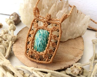 Macrame necklace with amazonite gemstone in beige brass beaded frame. Bohemian necklace