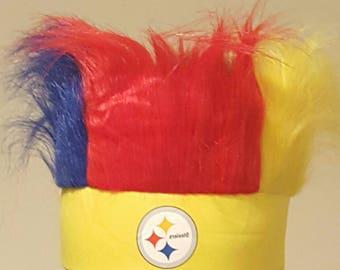 NFL head band with hair fan teams headpiece Pittsburgh Steelers football