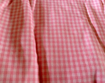 Pink Gingham Check Cotton Fabric, 2.75 yards by 45 inches wide