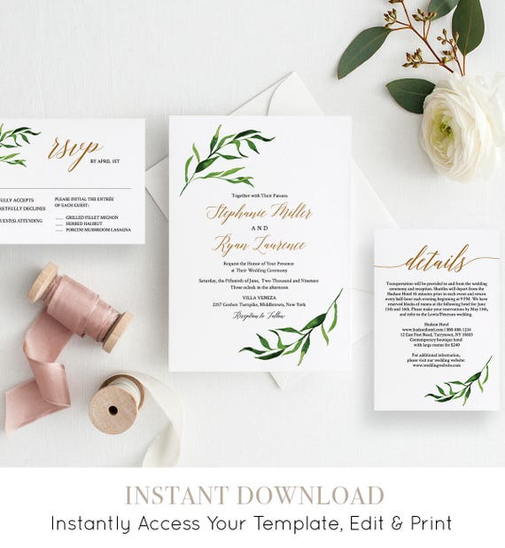 Greenery Wedding Invitation Set, INSTANT DOWNLOAD, Watercolor Laurel Invite, RSVP, Details, Printable, Editable Template, Templett #013