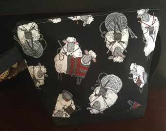 Knitting Sheep on Black,  zippered knitting project bag
