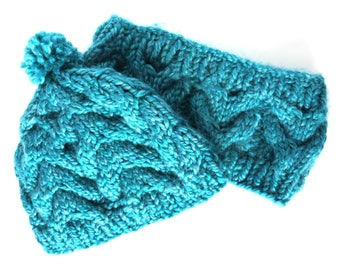 Teal Cable Hat and Neck Warmer / Large Hand Knit Cable Hat / Cable Knit Neck Warmer / Teal Chunky Knit Cable Hat and Neck Warmer - CH&NW 103