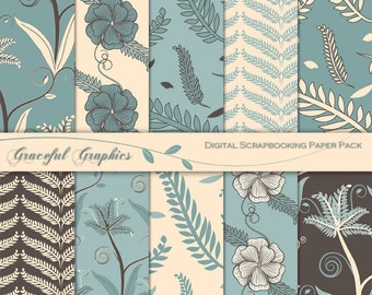 Scrapbook Paper Pack Digital Scrapbooking Background Papers FERN Leaf FLOWER Blue Blues Brown White 10 8.5 x 11 1444gg