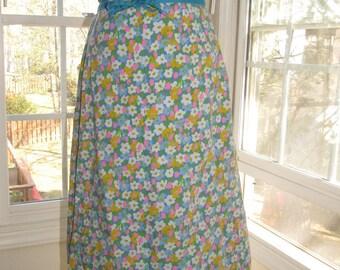 Vintage Daffodils Wrap Skirt, Welcome Spring Skirt, Summer Skirt, Small/Medium