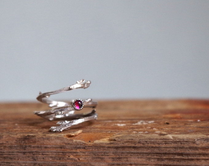 Pink Tourmaline Ring Silver Twig Ring Cabochon October Birthstone Gifts for her Botanical Jewelry