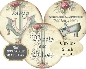 Boots Shoes Shabby Chic French Chausurres Circles 2 inch Instant Download digital collage sheet C197 Vintage Fashion