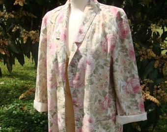 Women's Vintage Jacket/Size 12/Cabbage Roses/Shabby Chic