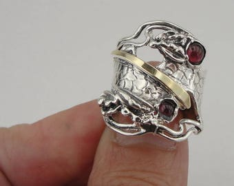 Fine Red Garnet Ring, 925 Silver 9K Yellow  Gold Garnet Ring, Garnet ring, Red stone ring. Free Shipping, Israeli Jewelry, Gift (ms 1104