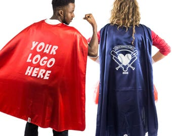 Adult Bulk Superhero Cape with Custom 1 Color logo - Choose Color and QTY | Customized Promotional Superhero Capes