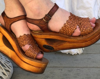 Rare 70s Frank Sbicca STUFF brown leather platform wedges with wood heel and woven leather