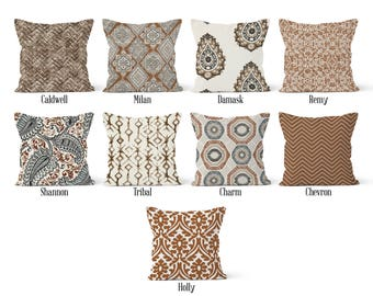 Brown Pillow Cover, Decorative Throw Pillow Covers, Euro Pillow Sham 16 x 16, 18 x 18, 20 x 20, 22 x 22, 24 x 24, 26 x 26