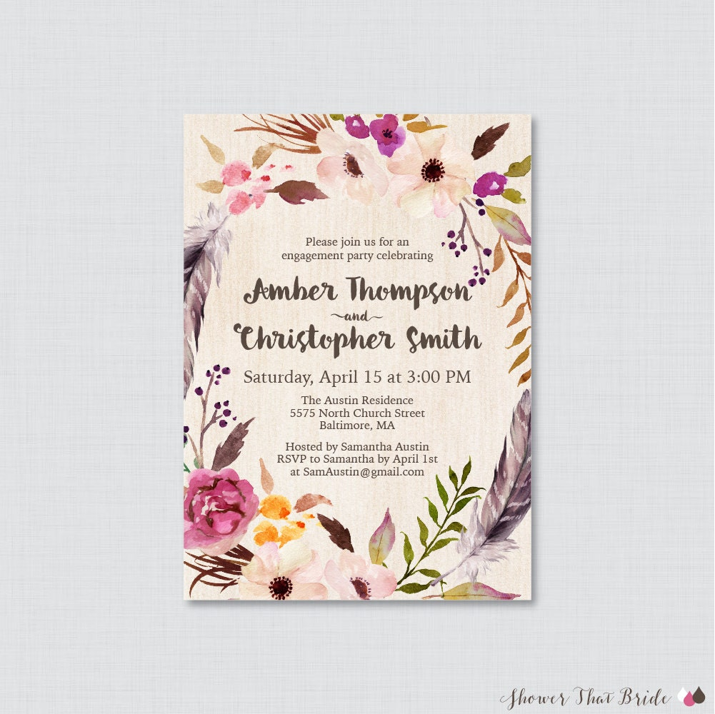 Boho Engagement Party Invitation Printable or Printed Floral